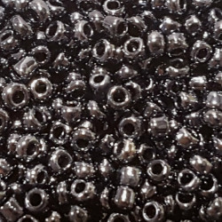 GLASS BEADS 2MM JET HEMATITE