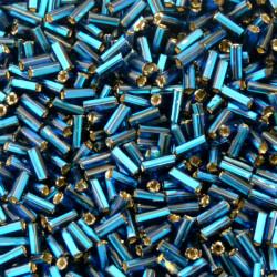 TUBE BEADS 6MM PEACOCK BLUE