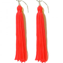 FRINGE EARRINGS TACTEL FLUORESCENT TANGO