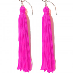 FRINGE EARRINGS TACTEL CERISE