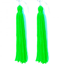 FRINGE EARRINGS TACTEL APPLE GREEN