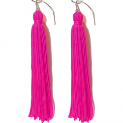 FRINGE EARRINGS TACTEL  ELECTRIC PINK