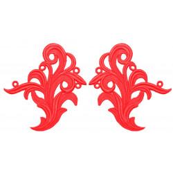 TAMARA GUIPURE MOTIF FLUORESCENT RED