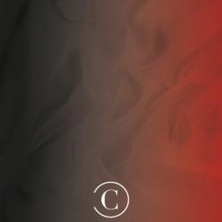 SATIN CHIFFON SHADED CC BLACK ON RED