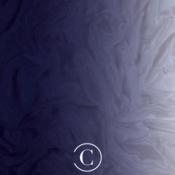 SATIN CHIFFON SHADED CC MIDNIGHT SKY ON WHITE