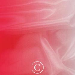 SATIN CHIFFON SHADED CC RED ON WHITE